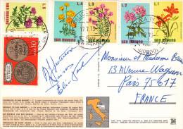 SAN MARINO L5 - L4 - L3 - L2 - L1 FLEURS + L10 MONNAIE Sur CARTE POSTALE SAINT MARIN - Lettres & Documents