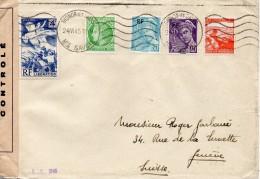 FRANCE LETTRE CENSUREE POUR LA SUISSE 1945 - 1921-1960: Modern Period
