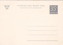 Sweden 35 Ore Grey Unused Postal Card With Reply Attached - Postal Stationery