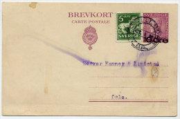 SWEDEN 1925 10 On 15 Öre Surcharged Postal Stationery Card, Used.    Michel P46 - Postal Stationery