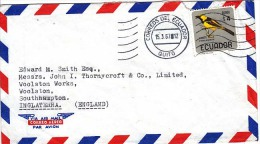 Ecuador Airmail Cover To England, Birds,          (Z-7782) - Ecuador