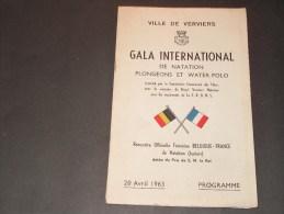 VERVIERS - GALA INTERNATIONAL DE NATATION PLONGEONS ET WATER POLO - 20/4/63 - Programmes