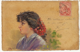 Carte Peinte A La Main Tres Belle Gitane Gypsie Voyagé Uruguay Signée - Cartes Postales