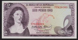 COLOMBIA 2 PESOS ORO 01.01.1973  P#413a  SERIAL# 77829389   UNC - Colombie