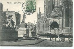 57  METZ   !!! CPA 6658 !!! Monument Fabert  Attelage  Tram - Metz
