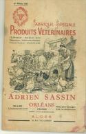 Catalogue Des Produits Vétérinaires Adrien Sassin à Orléans  100 Pages  De 1955 - Catalogues