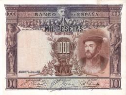 BILLETE DE ESPAÑA DE 1000 PTAS DEL AÑO 1925 DE CARLOS I CALIDAD BC+  SIN SERIE (BANKNOTE) - 1000 Pesetas