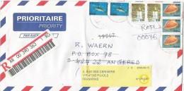 Ghana 2000 Aflao Cowrie Shell Boti Waterfalls Swordfish Barcoded Registered Cover Redirected Sweden - Ghana (1957-...)