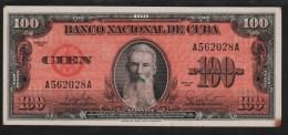 CUBA 100 PESOS 1959  SERIE A...A    XF+   F. Aguilera - Cuba