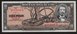 CUBA 10 PESOS 1960  SERIE S...A    UNC   Carlos Manuel De Céspedes - Cuba