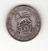 ROYAUME UNI - Belle Pièce De Six Pence Argent - De 1921 - 1902-1971 : Monnaies Post-Victoriennes