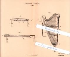 Original Patent  - Carl Oeller In Salzburg , 1888 , Zither !!! - Musikinstrumente