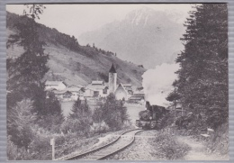 Reproduction D'une Ancienne Photographie Avec Locomotive à Vapeur - Lieu Inconnu - Reproductions