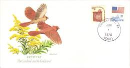 Birds And Flowers Of US States  - Kentucky  -  Cardinal  -   Goldenrod  -  Fleetwood FDC - Sperlingsvögel & Singvögel