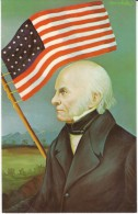 US President John Quincy Adams, Morris Katz Artist Signed C1960s Vintage Postcard - Personaggi