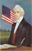 US President James Buchanan, Morris Katz Artist Signed C1960s Vintage Postcard - Personaggi