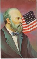 US President James Garfield, Morris Katz Artist Signed C1960s Vintage Postcard - Personaggi