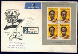 BL5-241 GHANA 1957 FDC MI M/S, BLOCK 5 PRESIDENT NKRUMAH, NATIONAL FOUNDERS DAY. - Ghana (1957-...)