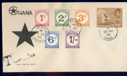 BL5-242 GHANA 1958 FDC PODSTAGE DUE MI 6-10 WITH TAX PENALTY. - Ghana (1957-...)