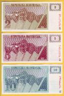 SLOVENIE - Lot De 3 Billets De 2, 5 Et 10 Tolarjev. 1990. Pick: 2a, 3a Et 4a. NEUF - Slovénie