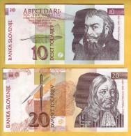 SLOVENIE - Lot De 2 Billets De 10 Et 20 Tolarjev. 15-01-92. Pick: 11a Et 12a. NEUF - Slovénie