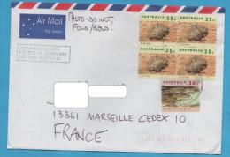 AUSTRALIE LETTRE 1994 N°1272 X 4  1354 (YT) FAUNE CROCODILES ECHIDNES - 1990-99 Elizabeth II