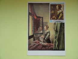 CARTE MAXIMUM CARD GIRL READING A LETTER DE VERMEER BURUNDI RARE - Art