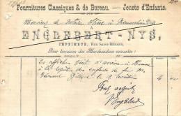 Facture : Englebert-Nys  à Jodoigne - Printing & Stationeries