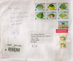 Taiwan Large Cover To Portugal With Fishes Stamps - 1945-... Republic Of China