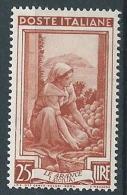 1950 ITALIA LAVORO RUOTA 25 LIRE MNH ** - W5-2 - 1946-60: Mint/hinged