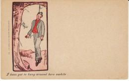 Death Macabre Man Hangs From Tree, 1900s Vintage Postcard - Illustratori & Fotografie