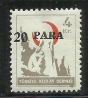TURCHIA - TURKÍA - TURKEY 1952 POSTAL TAX SEGNATASSE NURSE OFFERING ENCOURAGEMENT 1948 SURCHARGED 20 PARE ON 4 MH - 1921-... République