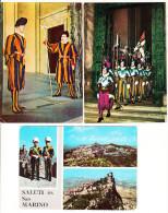 3 Postcards :  GUARDIA / Guards; Roma, San Marino & Citta Del Vaticano - Italia - Politie-Rijkswacht