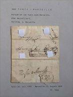 Lettre Purifiée /DISINFECTED Cover / Sanita/ Cholera : 1835 Tunis à Marseille - Old Paper