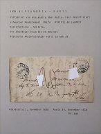 Lettre Purifiée / DISINFECTED Cover / Sanita / Cholera : 1838 Alexandrie à Paris - Old Paper