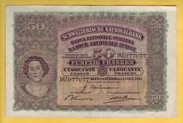 SUISSE - Billet De 50 Franken. 12-12-41. Pick: 34l. TB+ - Switzerland