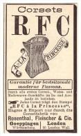Original Werbung - 1888 - RFC Corset , A La Princese , Rosenthal , Korsett , Corset !!! - Leibwäsche