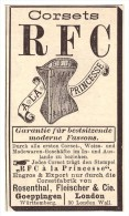 Original Werbung - 1888 - RFC Corset , A La Princese , Rosenthal , Korsett , Corset !!! - Lingerie