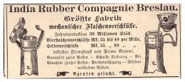 Original Werbung - 1888 - India Rubber Compagnie In Breslau , Flaschenverschlüsse !!! - Bier