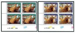 POLYNESIE 1986 - Yv. 266 Et 267 ** SUP Bloc De 4 Coin Daté  Cote= 15,00 EUR - Pirogue (2 Val.) ..Réf.POL22079 - Französisch-Polynesien