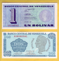 VENEZUELA - Lot De 2 Billets De 1 Et 2 Bolivares. 5-10-89. Pick: 68 Et 69. NEUF - Venezuela