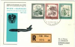 AUSTRIA - ÖSTERREICH - AUTRICHE - 1976 - First Flight SR 300 - Premier Vol - Wien-Karachi - Swissair - Aerei