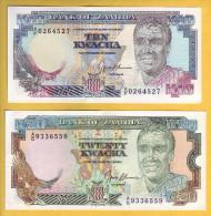 ZAMBIE - Lot De 2 Billets 10 Et 20 Kwacha. 1989-91. Pick: 31b Et 32b. NEUF - Zambie
