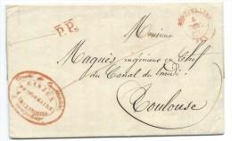 MARQUE POSTALE MONTPELLIER HERAULT POUR TOULOUSE / 1845 / PORT PAYE / CAD TYPE 14 ROUGE / CANAL DE BEAUCAIRE - 1801-1848: Precursors XIX