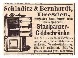 Original Werbung - 1888 - Panzerschrank , Tresor , Schladitz & Bernhardt In Dresden !!! - Werbung