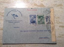 """1939 Censure A.E.F  """"CONTROLE POSTAL COMMISSION D"""" S. Lettre Angola > Port Gentil Gabon (transit Moyen Congo) - Cartas"""