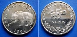CROATIA  5 Kuna 2001 BEAR (MRKI MEDVJED) - Croatie