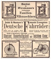 Original Werbung - 1888 - Deutsche Fahrräder , Seidel & Naumann In Dresden , Saxonia ,Fahrrad , Bicycle !!! - Transport