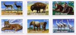 ci130601 Cook Is. 2013 Global Animals Deer Ox Koala Elephant Cat Crane 6v