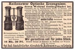 Original Werbung - 1888 - Gebr. Grabich In Rathenow Und Leipzig , Fernglas , Optik , Fernstecher !! - Optics